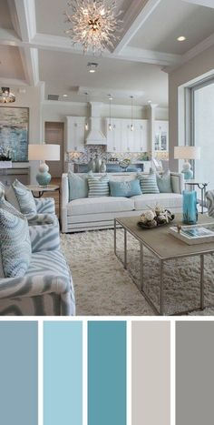 7 Best Living Room Color Schemes Sure to Brighten Your Mood ~ Popular Living Room Design Source by Coastal Living Rooms, Living Room Interior, Home Living Room, Beach Themed Living Room, Turquoise Living Rooms, Apartment Living, House Of Turquoise, Coastal Bedrooms, Turquoise Home Decor