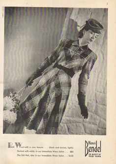 Henri Bendel New York Plaid Wool Dress ad, 1939. If only they still made clothes like this.