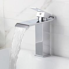 Elite 8817 Single-Lever Waterfall Basin Sink Faucet - Overstock Shopping - Great Deals on Bathroom Faucets Bathroom Renos, Bathroom Sink Faucets, Waterfall Faucet, Mini Waterfall, Basin Sink, Upstairs Bathrooms, Delta Faucets, Amazing Bathrooms, Home Renovation