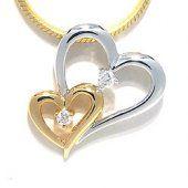 Hjerte vedhæng i 14 karat guld.- og hvidguld 0,06 ct