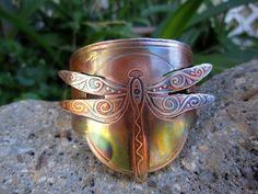 Copper cuff bracelet etched with my original. Shapes And Curves, Copper Cuff, Cuff Bracelets, Artisan, Delicate, Brooch, Fancy, Damselflies, Metal
