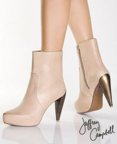 Jeffrey Campbell Frack Nude Leather Metallic Heel Boots  $109.00