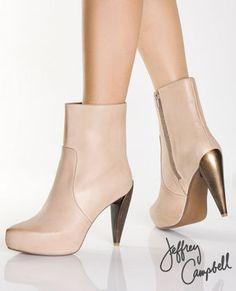 Jeffrey Campbell Frack Nude Leather Metallic Heel Boots $109.00
