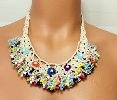 Crochet Lariat Necklace / Beaded Work Crochet Flower by Cocomillo