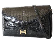 Hermes Black Crocodile Porosus Lisse Lydie 2way Shoulder Rare   Garo Luxury   Authentic Chanel, Hermes, Louis Vuitton, Collectible Vintages