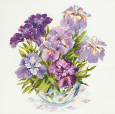 Riolis Irises In Vase - Cross Stitch Kit. Cross stitch kit featuring iris flowers in a vase. This cross stitch kit includes 14 count white Aida Zweigart fabric, Counted Cross Stitch Kits, Cross Stitch Charts, Cross Stitch Designs, Cross Stitch Patterns, Iris Flowers, Purple Flowers, Purple Iris, Embroidery Kits, Cross Stitch Embroidery