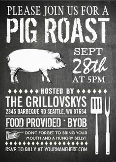 Pig roast invitations vintage chalkboard. Easy to customize. Available in different colors and styles.