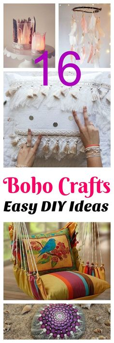 16 DIY boho crafts that would be perfect for teens or 20's for a bedroom, living room or dorm.