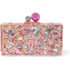 Sophia WebsterClara Crystal Embellished Metal Clutch (16.575 RUB) ❤ liked on Polyvore featuring bags, handbags, clutches, pink, colorful purses, party clutches, pebbled-leather handbags, pink purse and party handbags