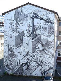 """'Blindness' New Street Art by Liqen Jakala found in Kassel Germany 🇩🇪 Graffiti Murals, Murals Street Art, Street Art Graffiti, Mural Art, Amazing Street Art, Best Street Art, Street Art Utopia, Art Articles, Spanish Artists"