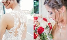Bride with birdcage veil and unique wedding dress back photographed by ST Photography | The Pink Bride®️️️ www.thepinkbride.com