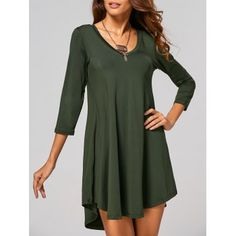 SHARE & Get it FREE   V-Neck 3/4 Sleeve Asymmetrical DressFor Fashion Lovers only:80,000+ Items·FREE SHIPPING Join Dresslily: Get YOUR $50 NOW!