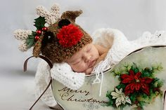 Reindeer with a Red Nose Hat for Children by TheHandmadeHeritage, $25.00