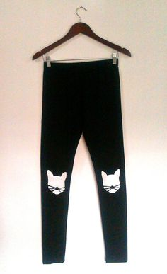 Black leggings  Cats  Handmade cotton leggings  by COOLLeggings. Check out my Etsy shop!