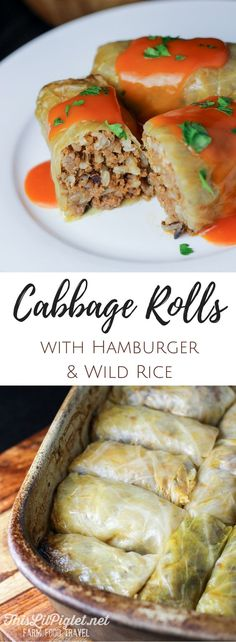Cabbage Rolls With Hamburger and Wild Rice in Tomato Sauce made even better with sour cabbage // thislilpiglet.net