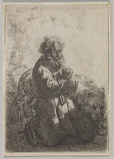 St. Jerome in Prayer. Artist: Rembrandt (Rembrandt van Rijn) (Dutch, Leiden 1606–1669 Amsterdam) Date: 1635. Medium: Etching