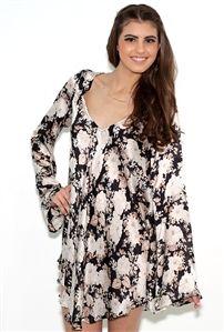 For Love & Lemons Day Tripper Dress in Black Floral