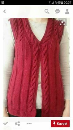 "diy_crafts-Kırmızı baston işi örgü bayan yelek ""Learn how to crochet the ballo"", ""Hand Knitting Women's Sweaters The winter season marks the b Baby Knitting Patterns, Knitting Designs, Easy Knitting, Knitting For Beginners, Crochet Cardigan, Knit Crochet, Knit Vest Pattern, Knitting Magazine, Sweater Design"
