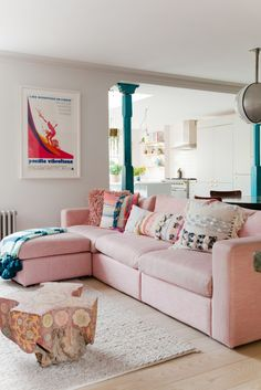 pink sofa living room decor