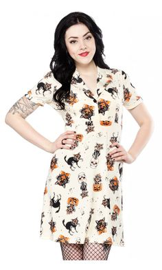 SOURPUSS BLACK CATS ROSIE DRESS