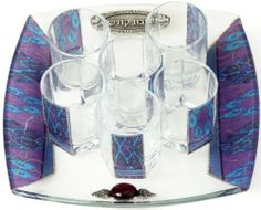 Glass Wine Cup Set with Tray and Six Cups Decorated with Autumn Leaves by World of Judaica. $37.00. Material: Glass. Dimensions: 26x26cm. You will be pleasantly surprised! The vast majority of our shipments arrive within 10-14 business days from time of shipment, far in advance of Amazon's default calculation of shipping times for items shipped from Israel.. Your order includes 1 item(s).. This glass Wine Cup Set is made up of a tray and six small wine glasses decorated with ...
