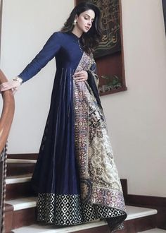 Navy blue cotton silk anarkali paired with a embroidered shawl with ari and tiki zardozi. Inspired by 17th century Mughal carpets.