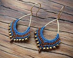 macrame earrings, Miyuki beads, gold plated earwires, brass drop, blue brown earrings