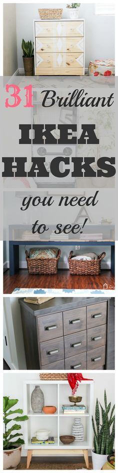 Ikea hacks for furniture. Tutorials and how-to instructions. DIY Ikea Hack Ideas. Rast, Tarva, Billy Bookcase, Fjell, LACK, etc.