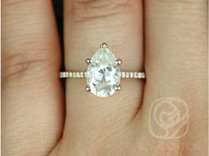 (Size 9.5 in white gold) Rosados Box Ann 2.1cts 14kt Rose Gold Pear FB Moissanite and Diamonds Cathedral Engagement Ring ($2,065.00)