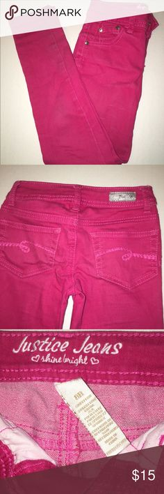 Pink Justice Jeans 8R Justice Jeans in pink, size 8 regular. Perfect for your little girl! No rips or stains. Justice Bottoms Jeans