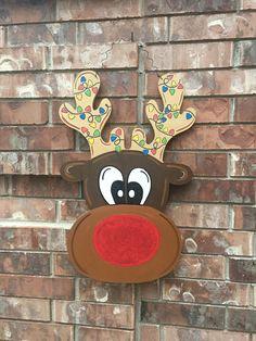 SHIPS NOW! Reindeer Door Hanger, Christmas Door Hanger, Christmas Wreath, Reindeer Wreath, Christmas Light Door Hanger, Rudolph Door Hanger by CrazyArtTeacherLady on Etsy