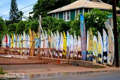 Surfboard fence / Why you need to visit Paia, and other Maui tips / FunkyJunkInteriors.net