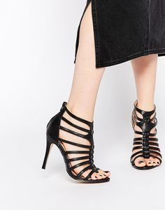 Daisy Street Black Caged Heeled Sandals