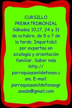Granada. CURSILLO PREMATRIMONIAL Sábados 10,17, 24 y 31 de octubre, de 5 a 7 de la tarde Impartido por expertos en sicología y orientación familiar. Saber más http://parroquiasanildefonso@gmail.com parroquiasanildefonsogranada@gmail.com Más información de eventos en Granada Mario +34 616453927 WhatsApp info@extragrupo.org