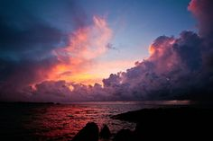 Pink and orange and purple and glorious blues in a Bermuda sunset