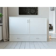 Atlantic Furniture Hamilton Murphy Bed Chest with Charging Station & Mattress, Queen, White Fold Out Couch, Murphy Bed Plans, Murphy Beds, Queen Murphy Bed, Wood Bed Design, Atlantic Furniture, California King Bedding, Wood Headboard, Guest Bedrooms