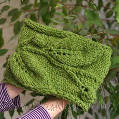 Handknit designer chunky leafy cowl in grass green by EveldasNeverland, $74.00