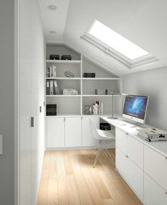 Nice, small, bright white office with skylight window. Nice, small, bright white office with skylight window. Attic Loft, Loft Room, Attic Stairs, Attic Library, Attic Ladder, Attic House, Bedroom Loft, Teen Bedroom, Big Bathrooms