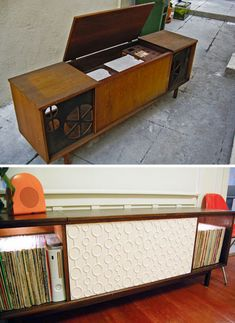 "& After: Stereo Cabinet Turned Into Song ""Porta-Party"" Drool. Before & After: Stereo Cabinet Turned Into Song ""Porta-Party"" Vintage Record Player Cabinet, Vintage Stereo Cabinet, Record Player Console, Record Cabinet, Console Cabinet, Cabinet Furniture, Furniture Makeover, Media Cabinet, 1960s Furniture"