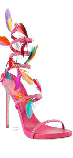 Without the feathers, love the coil! Pretty Shoes, Beautiful Shoes, Stilettos, Crazy Shoes, Me Too Shoes, Shoe Boots, Shoes Heels, Bling Shoes, Rene Caovilla