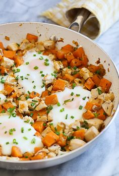 Skillet Sweet Potato Chicken Hash with Eggs from Skinnytaste.