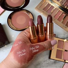 """•leslie• on Instagram: """"Which Pillow Talk is calling you? Comparison of the @ctilburymakeup Pillow Talk lipsticks amm sooo in love the Pillow Talk Intense! It…"""" Pillow Talk Lipstick, Charlotte Tilbury, Beauty Make Up, Lipsticks, Love, Instagram, Throw Pillows, Makeup, Modern"""
