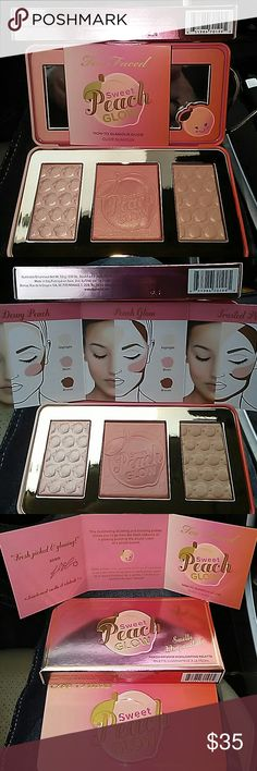IT'S BACK: TOO FACED PEACH HIGHLIGHTING PALETTE Too faced peach palette has: highlight, blush, bronzer. For 3 looks: Dewy Peach, Peach Glow & Frosted Peach. These don't last long on my site so you better get it now. NEW!!! NEVER SWABBED! NEVER TESTED! Too Faced Makeup Face Powder