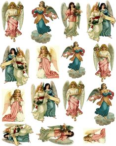 Free new age Collage Sheets for Pendants | Decoupage Paper Collage Sheet Vintage Fairies