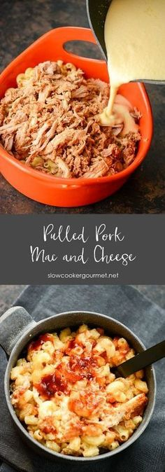 Pulled Pork Mac and Cheese - Macaroni and Cheese Recipes - Beef Slow Cooker Recipes, Crockpot Recipes, Cooking Recipes, Cheese Recipes, Dinner Crockpot, Cooking Ribs, Cooking 101, Cooking Games, Top Recipes