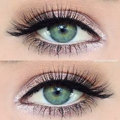 """Makeup Artist on Instagram: """"Simple sparkly pink #eotd using just 2... ❤ liked on Polyvore featuring beauty products, makeup, eye makeup, eyeshadow, creme eye shadow, creased eyeshadow, pink eyeshadow, sparkly eye makeup and cream eye shadow"""