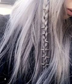 regal rose phoenix hair spikes styled to perfection by iamchristinabertevello Pelo Color Gris, Phoenix Hair, Rose Hair, Lilac Hair, Pastel Hair, Gray Hair, Hair Rings, Coloured Hair, Rainbow Hair