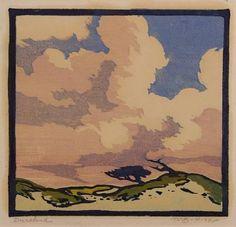 "William Seltzer Rice (1873-1963) - Duneland. Woodblock Print. Circa 1918. 6"" x 6-1/4""."