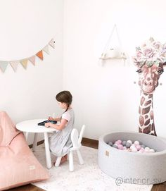 We hope that your day will be as peaceful as this lovely photo by mama @interior_sv 💕 - even if our kiddos allow it just for a few minutes. 🤪 Girl Desk, Desk Areas, Bassinet, Playroom, Cute Girls, Beautiful Homes, Garland, Nursery, Kids Rugs
