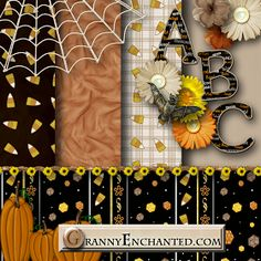 "GRANNY ENCHANTED'S BLOG: ""Candy Corn"" Free Scrapbook Alphabet Kit with Papers, Alphabet, and Elements"